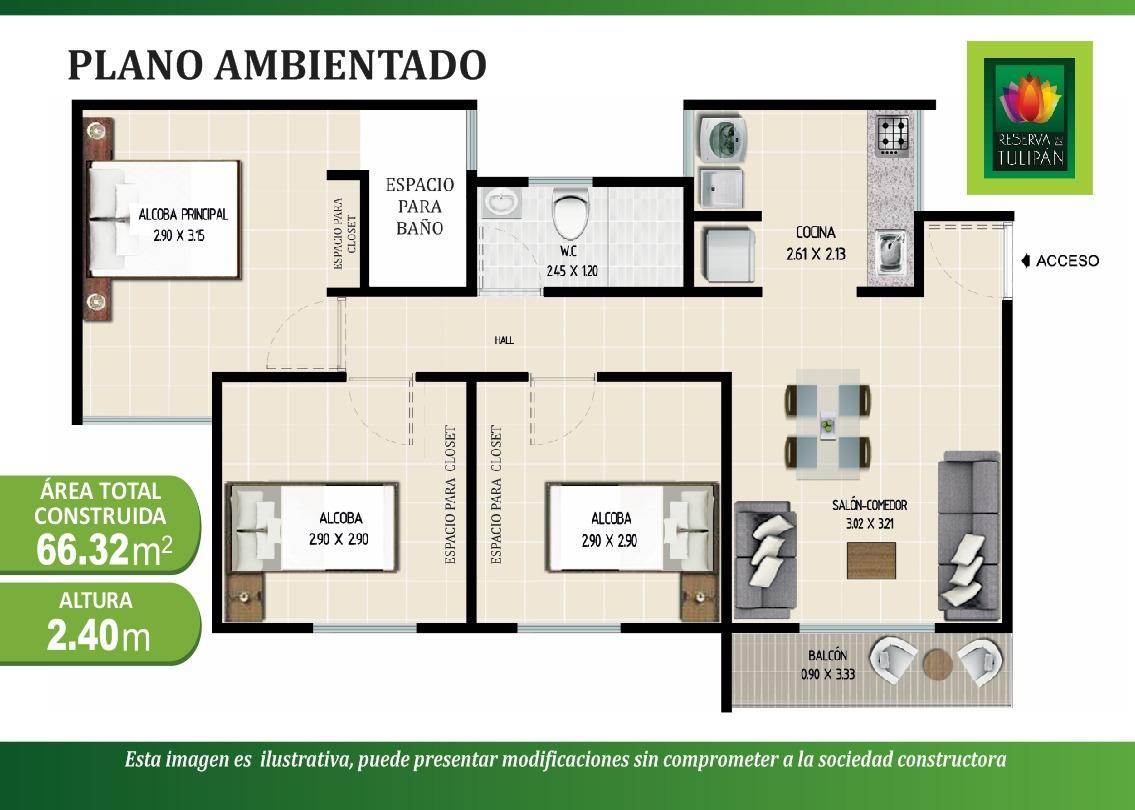 Plano Apartamento Reserva del Tulipan